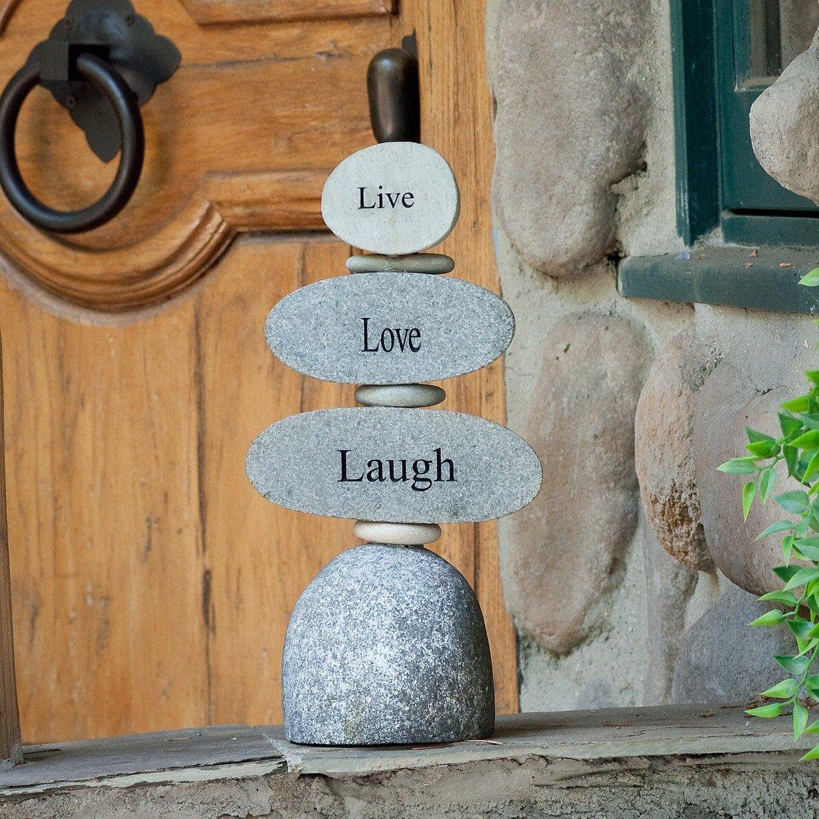 August Grove Kattie Live Love Laugh Cairn Garden Stone Wayfair