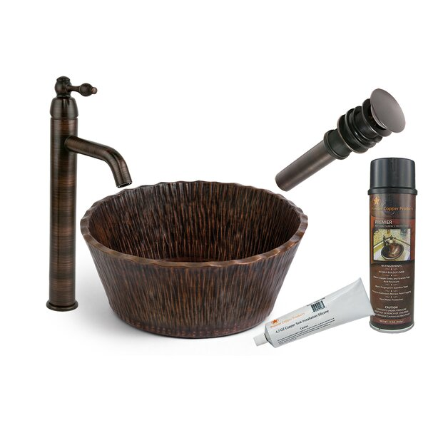 Forest Metal Circular Vessel Bathroom Sink with Faucet