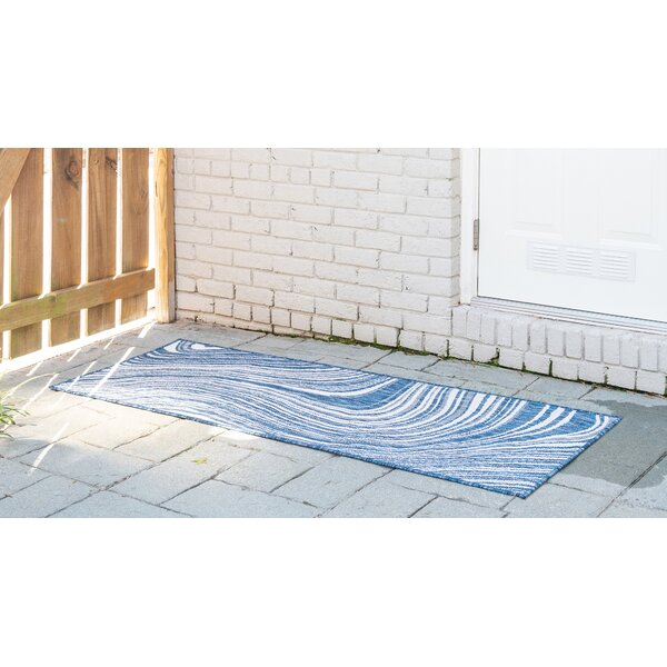 Gabija Abstract Navy Blue Indoor / Outdoor Area Rug
