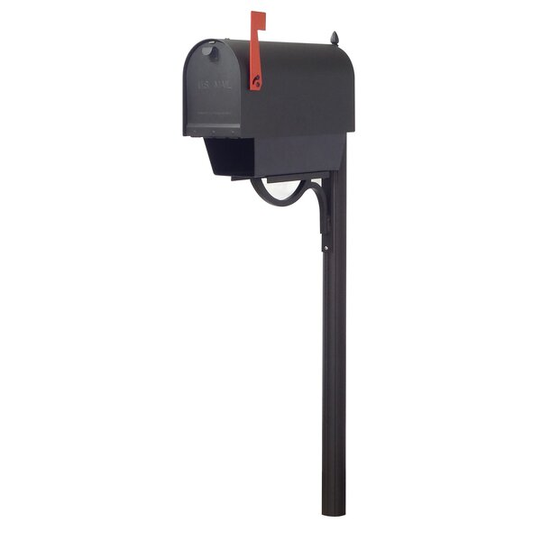 Titan Steel Curbside Mailbox with Paper Tube and Richland Mailbox Post by Special Lite Products