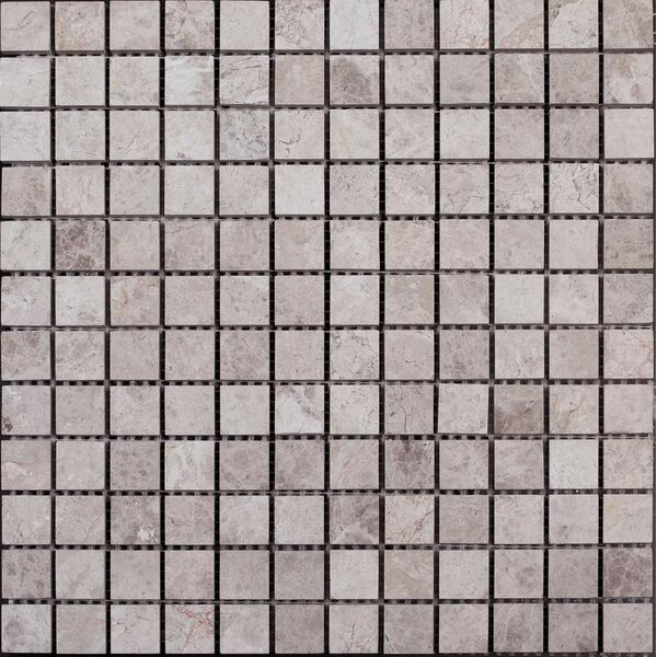 1 x 1 Marble Mosaic Tile in Silver Shadow by Ephesus Stones