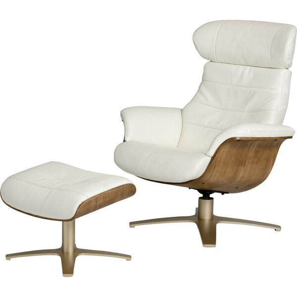 Alsatia Modern Leather Manual Swivel Recliner with Ottoman by Wade Logan