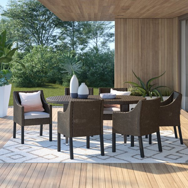 Duong Outdoor 7 Piece Dining Set with Cushions by Mercury Row