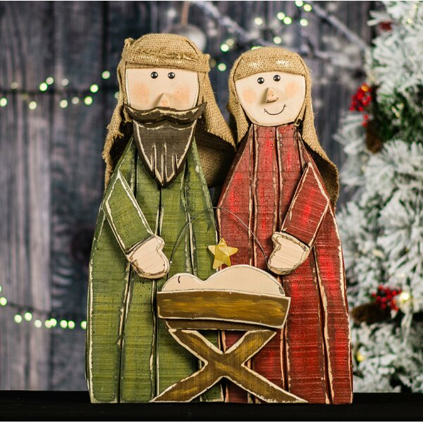 Wooden Nativity Oversized Figurine by The Holiday Aisle