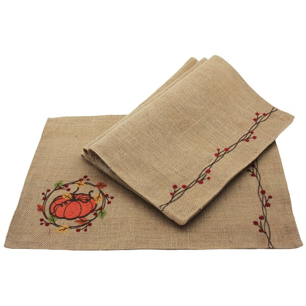 Pumpkin Wreath Fall Placemat (Set of 4) by Manor Luxe