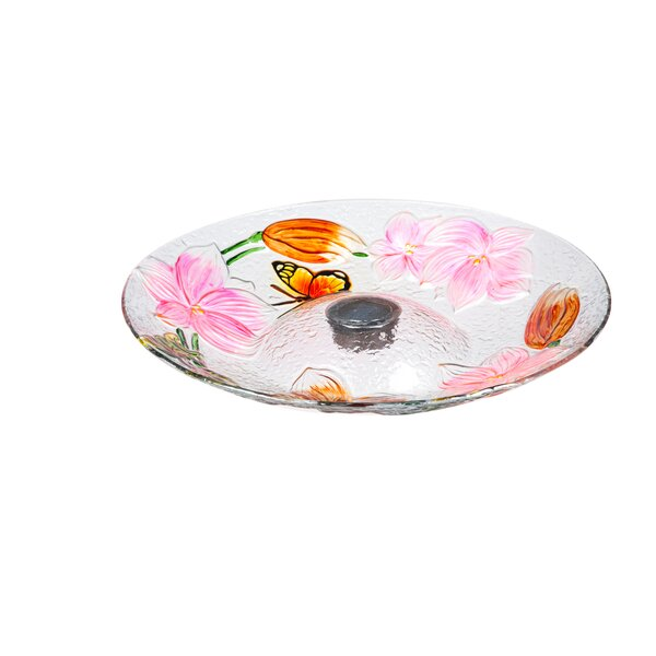 Butterfly Solar Lighted Birdbath by Evergreen Flag & Garden