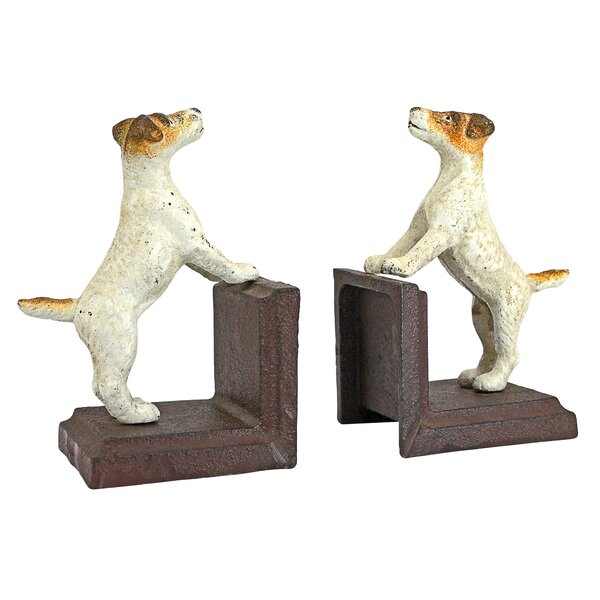 Jack Russell Terrier Dog Cast Iron Sculptural Dog Bookend (Set of 2) by Design Toscano