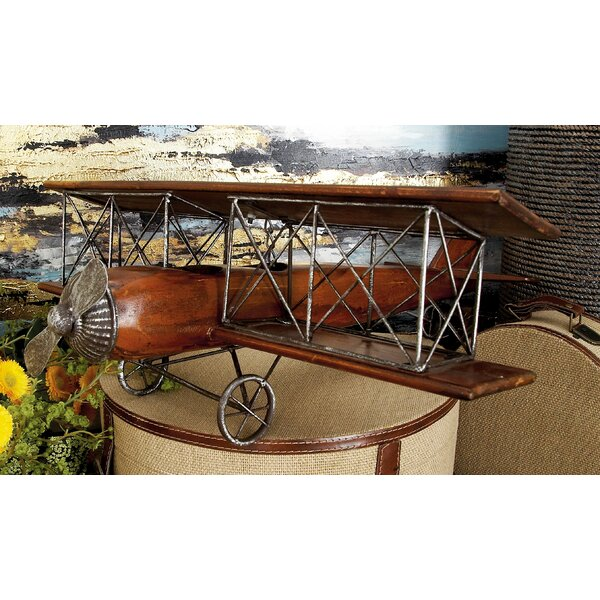 Hinnant Aspen Wood and Iron Biplane Sculpture by Williston Forge