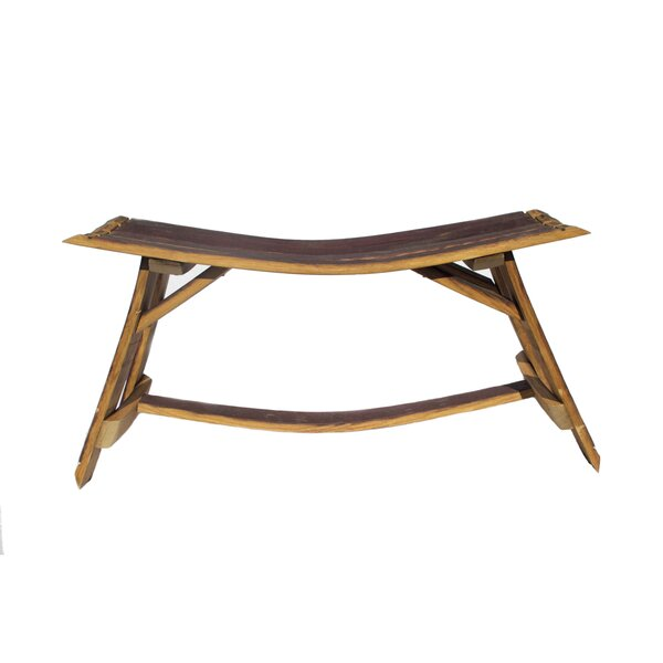 Rinehart Barrel Stave Wooden Picnic Bench by Millwood Pines Millwood Pines