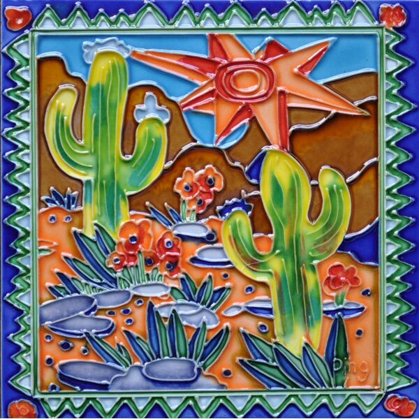 Southwestern Cactus Tile Wall Decor by Continental Art Center