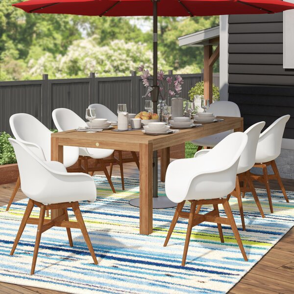 Alshain Teak 9 Piece Dining Set by Mercury Row