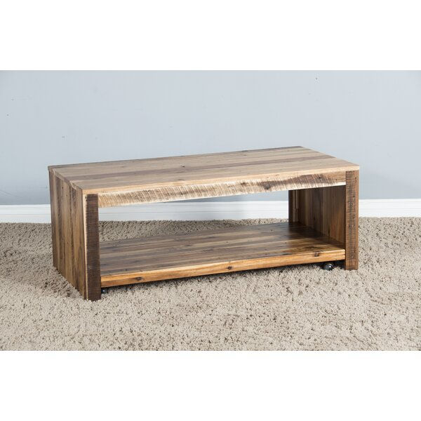 Emelia Solid Wood Floor Shelf Coffee Table With Storage By Millwood Pines