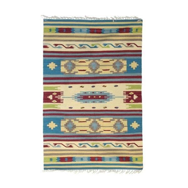 Retherford Dhurrie Hand-Woven Wool Blue/Beige Area Rug by Bloomsbury Market