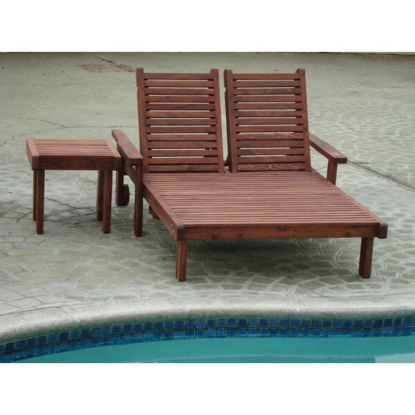Gerome Rustic Wood Double Chaise Lounge by Rosecliff Heights
