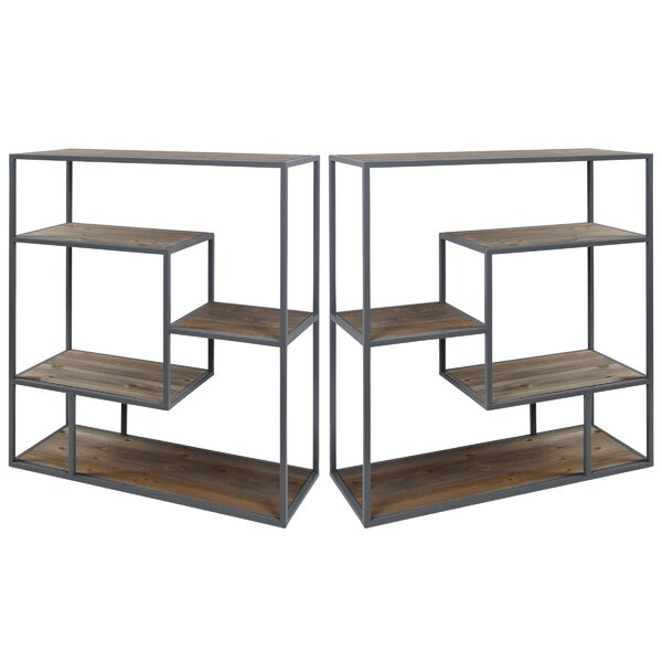 Cassandra Industrial Etagere Bookcase (Set of 2) by Mistana
