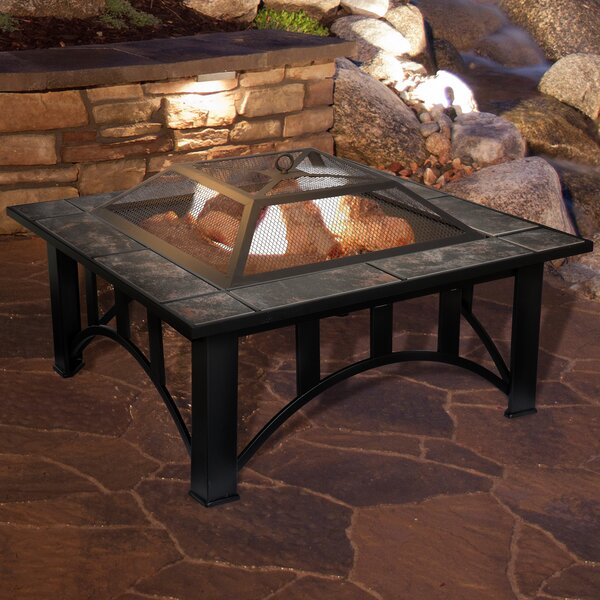 Steel Wood Burning Fire Pit Table by Pure Garden