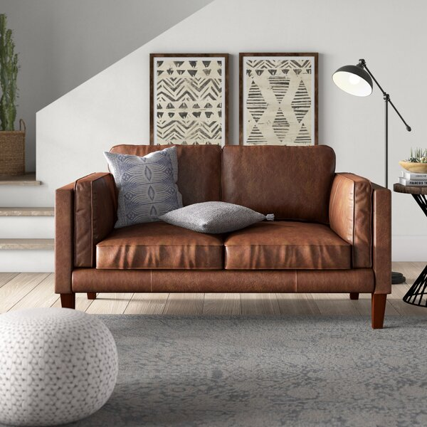 Tinney Leather Loveseat by Mistana