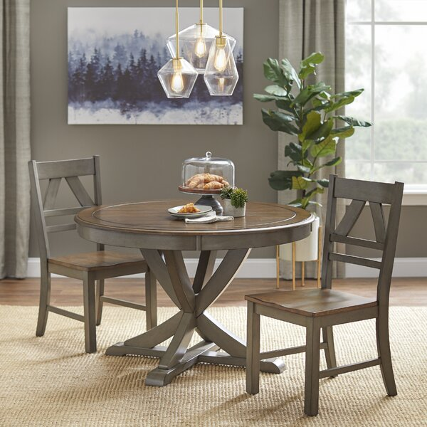 Tiana 3 Piece Solid Wood Dining Set by Charlton Home