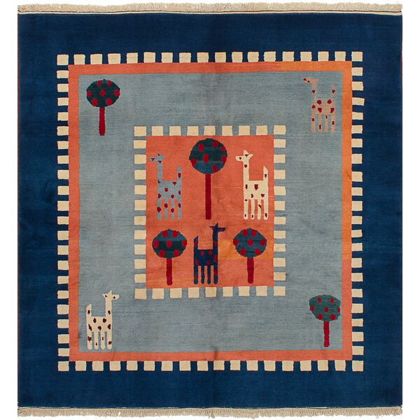 Bettina Hand-Knotted Wool Copper/Light Blue Area Rug by Bloomsbury Market