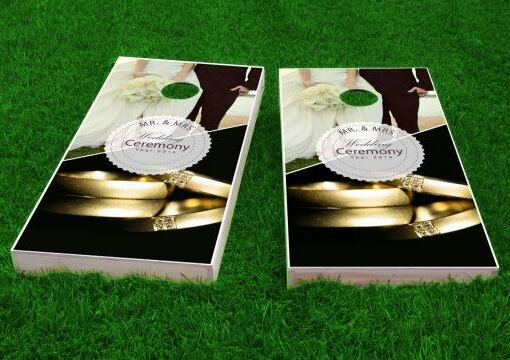 Wedding Gold Rings Cornhole Game (Set of 2) by Custom Cornhole Boards
