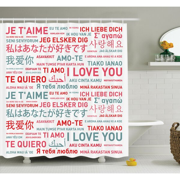 Love Emotional Messages Art Shower Curtain Set by Ambesonne