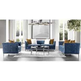 Acanva Mid-Century Modern Velvet 3 Piece Living Room Set by Ivy Bronx