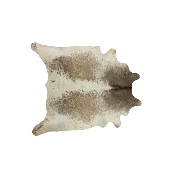 Abhinav Hand-Woven Leather Pepper Taupe/White Cowhide Area Rug by 17 Stories