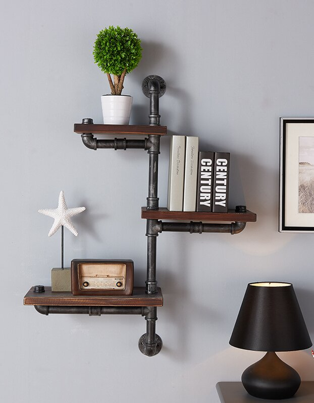 3 Shelves Wood Floating Wall Shelf