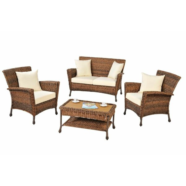 Ophélie 4 Piece Rattan Sofa Seating Group with Cushions by One Allium Way