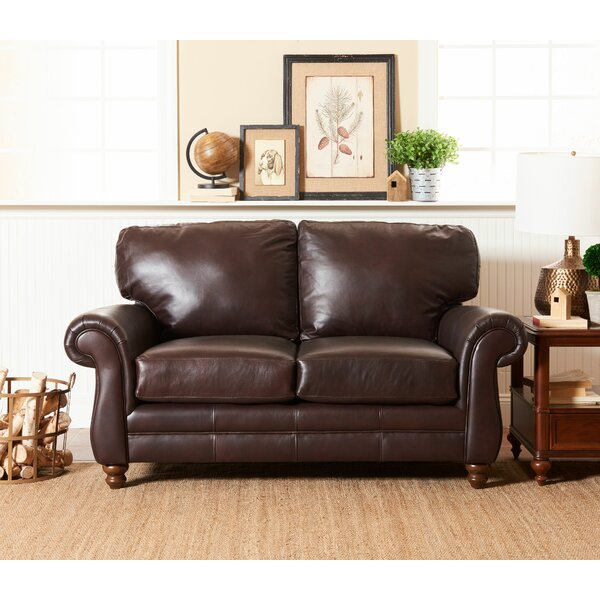 Dashing Spiers Leather Loveseat by Wayfair Custom Upholstery by Wayfair Custom Upholstery��