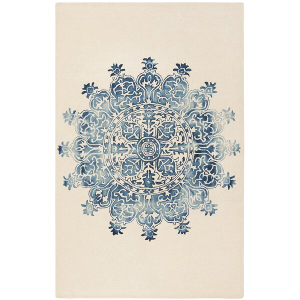 Katz Hand-Tufted Wool Blue/Beige Area Rug by Bungalow Rose