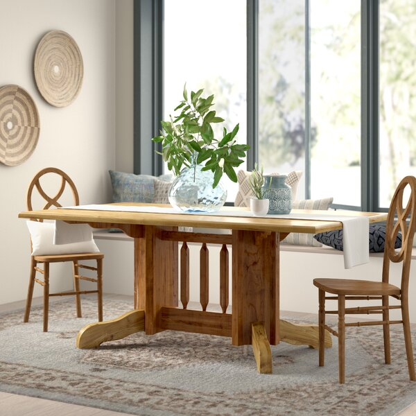Abella Solid Wood Dining Table Double Pedestal by Loon Peak