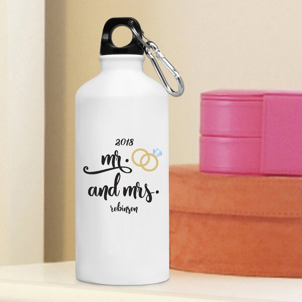 Hartsell Personalized Mr and Mrs 20 oz. Metal Water Bottle by Winston Porter