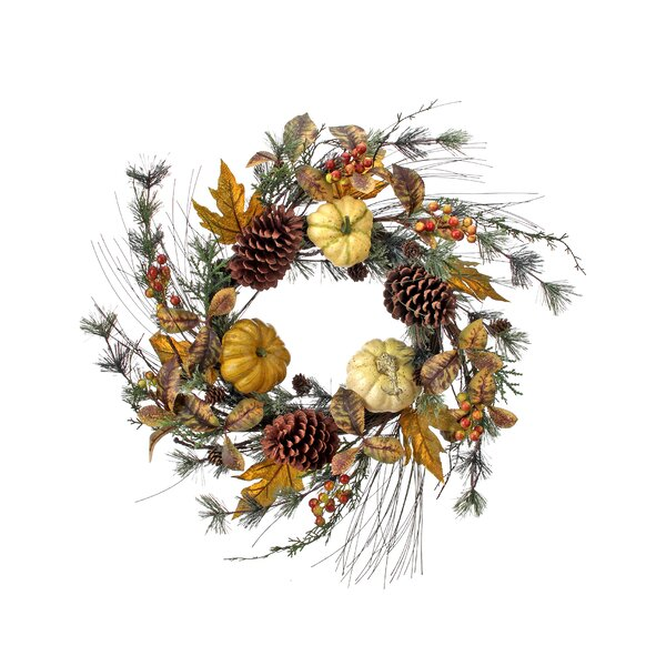 24 Waterproof Pumpkin Berry Maple and Oak Leaf Wreath by August Grove