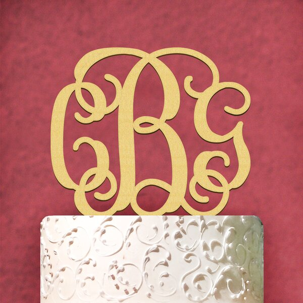 Personalized 3 Letter Wooden Cake Topper by aMonogram Art Unlimited