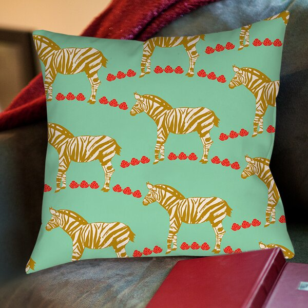 Zebra Printed Throw Pillow by Manual Woodworkers & Weavers