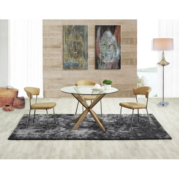 Saunders Tempered Glass Dining Table by Orren Ellis