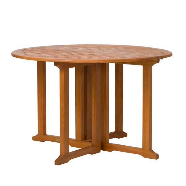 Kelbark Drop-Down Eucalyptus Folding Dining Table by Bay Isle Home