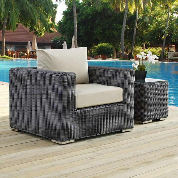 Keiran Outdoor Patio Armchair with Cushion by Brayden Studio
