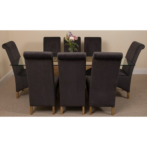 Ediz Glass Dining Set with 8 Chairs Ebern Designs