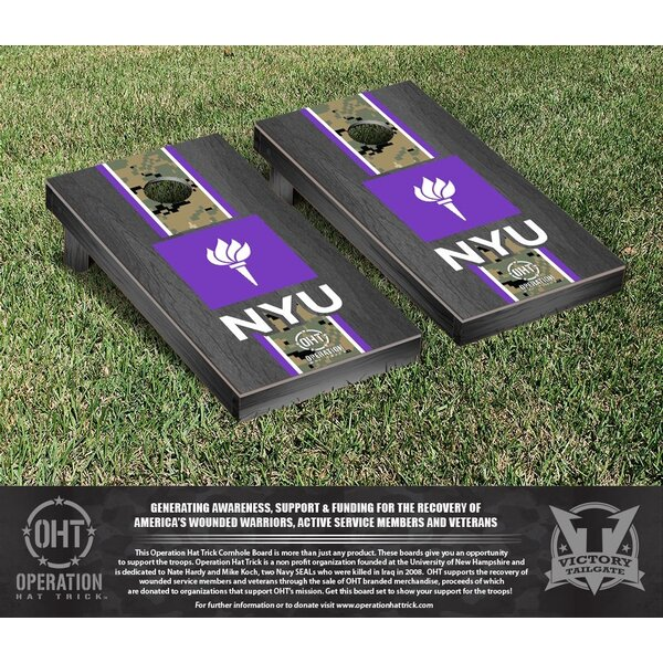 Operation Hat Trick New York Bobcats Onyx Stained Stripe Version Cornhole Game Set by Victory Tailgate