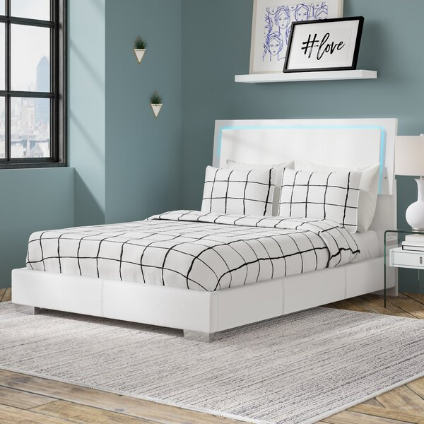 Schiavone Upholstered Standard Bed With LED Light By Latitude Run