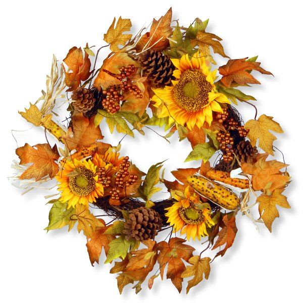 Harvest 24 Autumn Sunflower Wreath by National Tree Co.