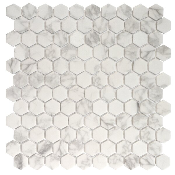 Onix 1 x 1 Glass Mosaic Tile in Statuario Malla by Madrid Ceramics