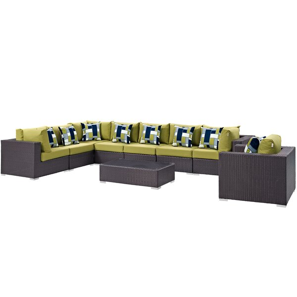 Brentwood 3 Piece Rattan Sectional Set with Cushions by Sol 72 Outdoor