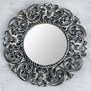 Novica Balsamina Buds Hand Carved Floral Wall Mirror