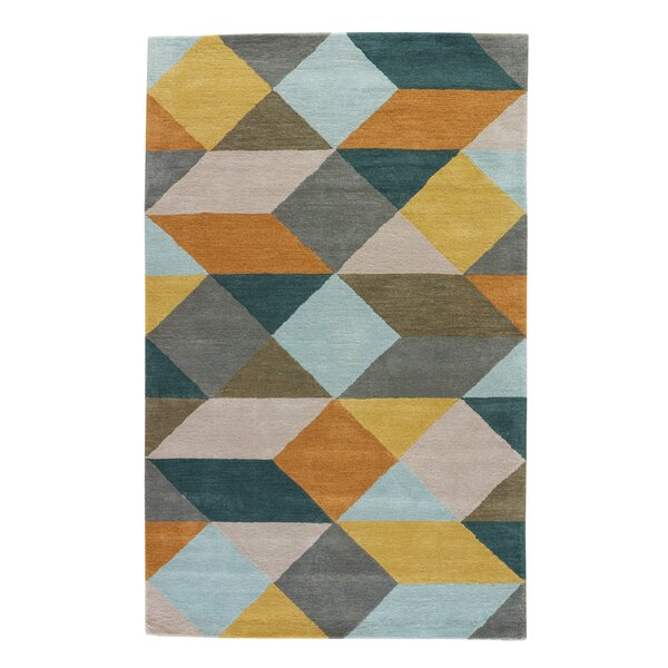 Benson Hand-Tufted Wool Yellow/Gold/Teal Area Rug by Wrought Studio