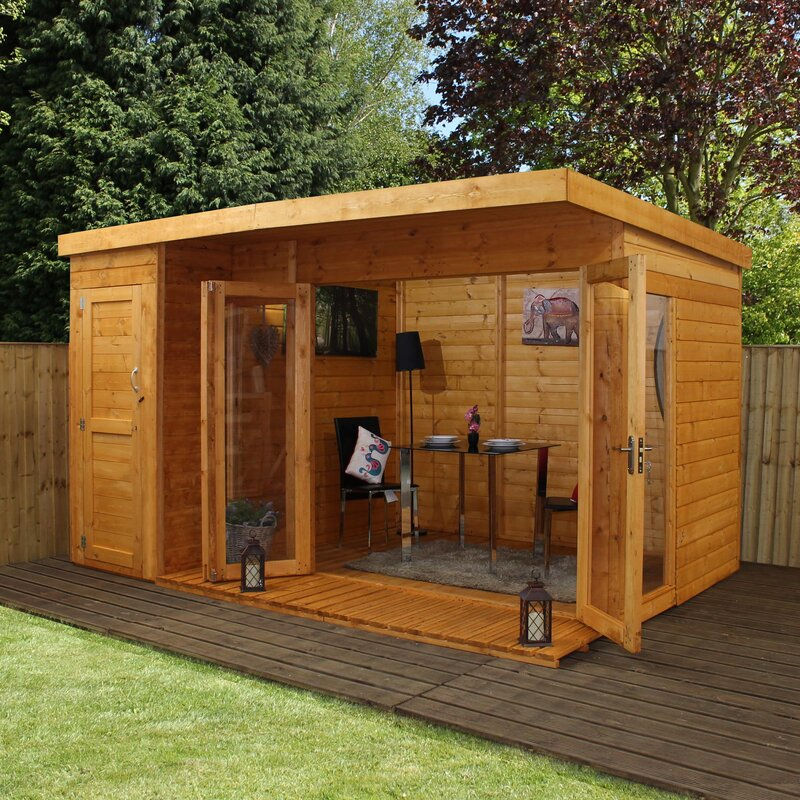 mercia garden products 12 x 8 ft summer house with side. Black Bedroom Furniture Sets. Home Design Ideas