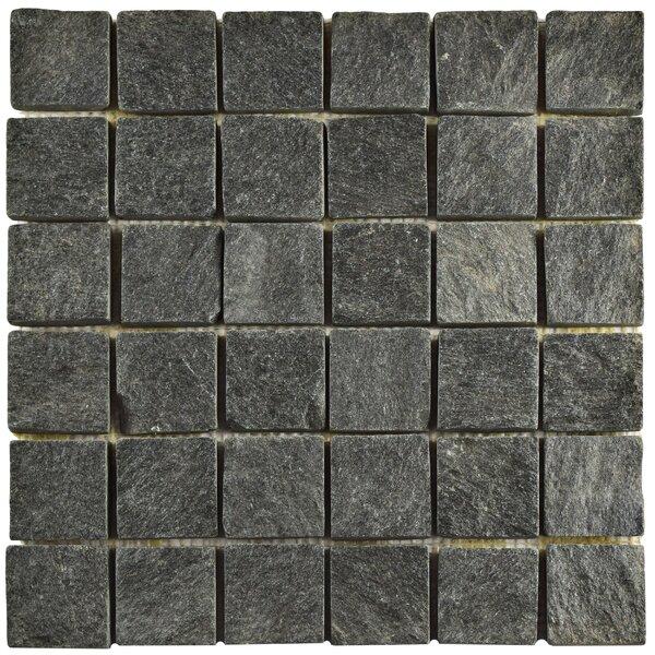 Peak Quad Quartzite 1.88 x 1.88 Slate Mosaic Tile in Black by EliteTile
