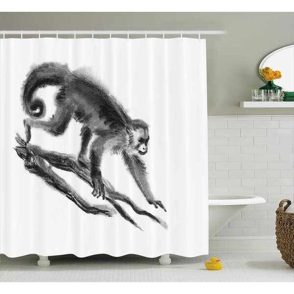 Antione Exotic Jungle Monkey Shower Curtain by Bloomsbury Market
